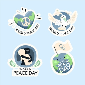 Étiquettes de la journée internationale de la paix dessinées à la main