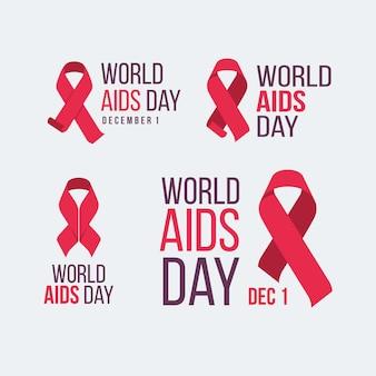 Étiquettes de la journée mondiale du sida avec des rubans rouges