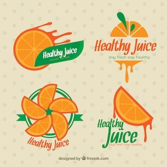 Les étiquettes de jus d'orange mis en
