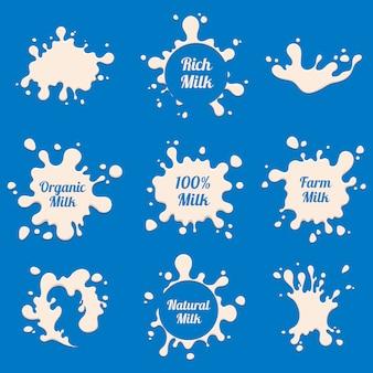 Étiquettes de lait éclaboussures