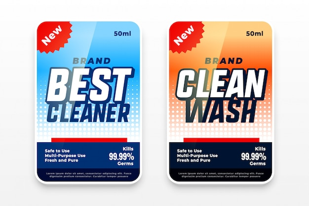 Étiquettes de lavage détergent design ensemble de deux