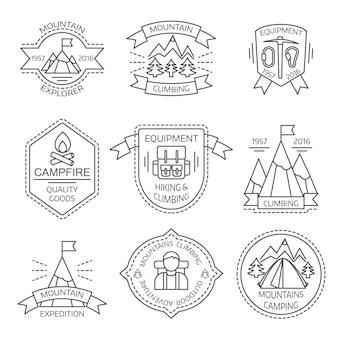 Étiquettes linéaires monochromes de tourisme de montagne