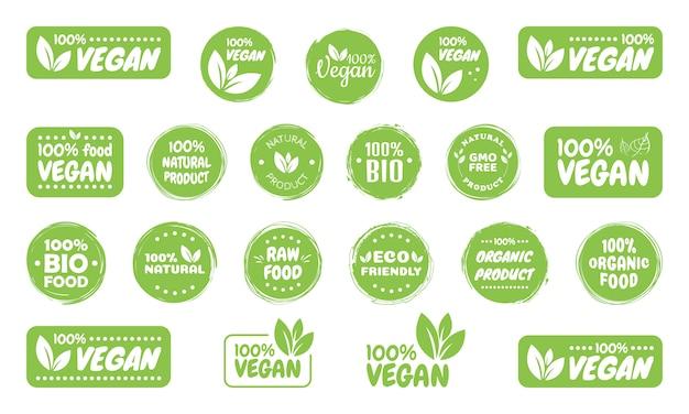 Étiquettes de logo de nourriture végétalienne