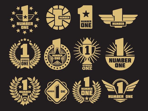 Etiquettes et logos d'identité rétro numéro un doré