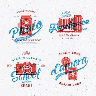 Étiquettes ou logos de photographie d'appareil photo rétro avec des textures minables de typographie vintage.