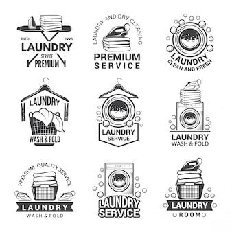 Étiquettes ou logos pour le service de blanchisserie.