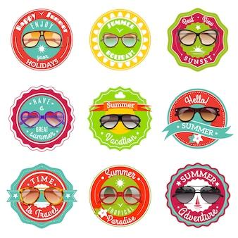 Étiquettes de lunettes de soleil d'été