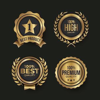 Étiquettes de luxe dorées dégradées