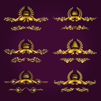 Etiquettes de luxe en or avec couronne de laurier
