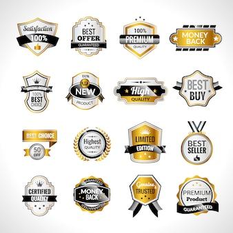 Étiquettes de luxe or et noir