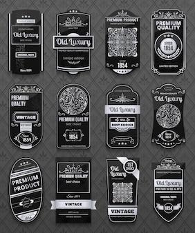 Étiquettes de luxe rétro en couleur noir et blanc isolées sur fond gris