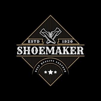 Étiquettes de magasin de réparation de chaussures de fabricant de chaussures en cuir vintage de luxe ou logo pour la marque de chaussures homme femme