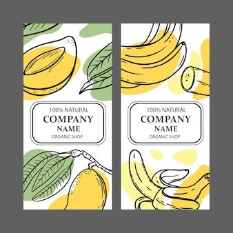Étiquettes mangue banane