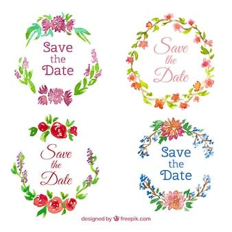Étiquettes de mariage d'aquarelle avec des fleurs