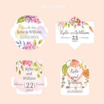 Étiquettes de mariage bohème aquarelle