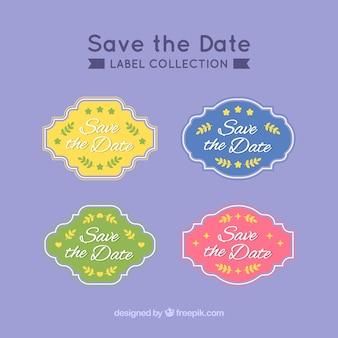 Étiquettes de mariage colorées avec style vintage