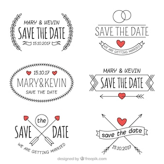 Étiquettes de mariage dessinées à la main