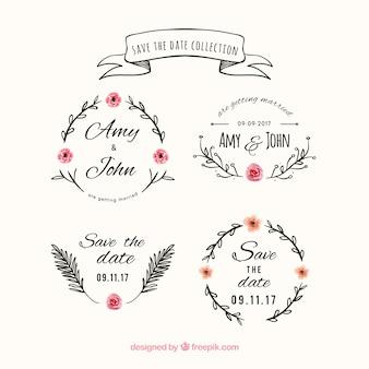 Étiquettes de mariage florales avec style vintage