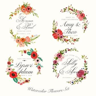 Étiquettes de mariage de peinture florale