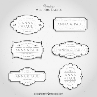 Étiquettes de mariage vintage de couleur blanche