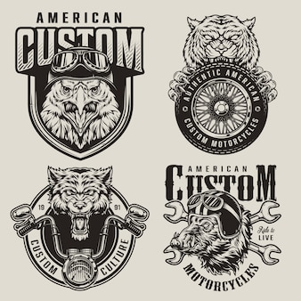 Étiquettes de mascottes de motards animaux vintage