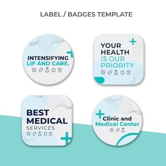 Étiquettes médicales design plat