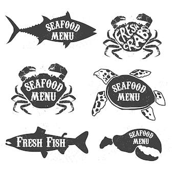 Étiquettes de menu de fruits de mer