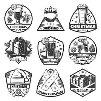 Étiquettes de menu de noël monochrome vintage sertie de boissons biscuits au gingembre cadeaux mitaines écharpe chapeau boules branches de sapin isolés