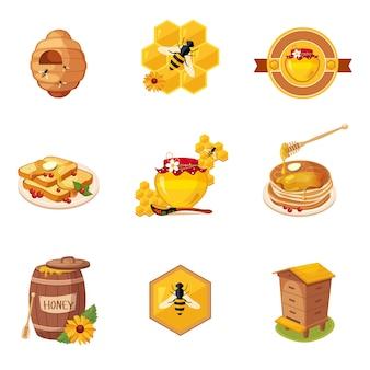 Étiquettes de miel et d'aliments connexes ensemble d'illustrations