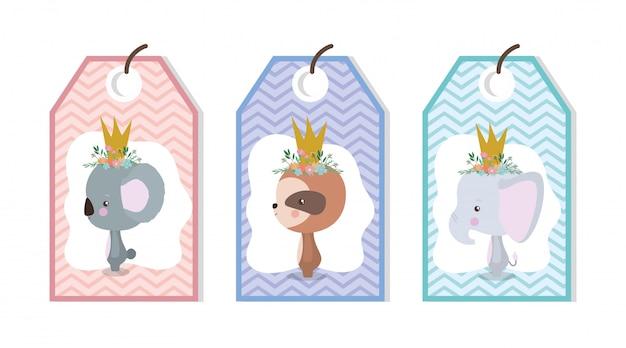 Étiquettes mignonnes avec des dessins animés d'animaux