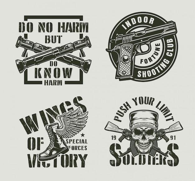 Étiquettes militaires monochromes vintage