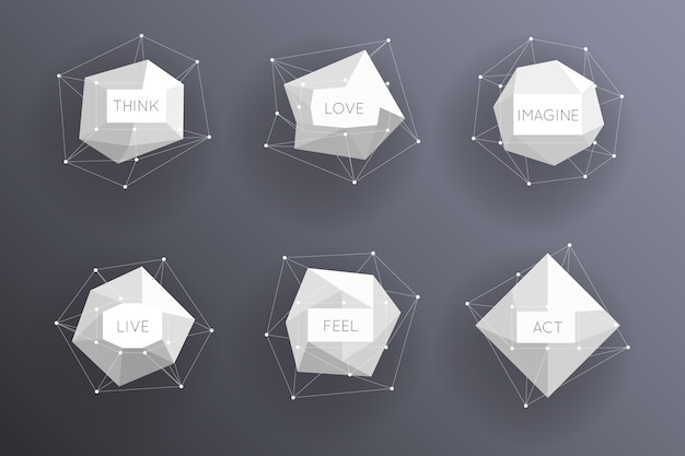 Étiquettes modernes abstraites basses polygonales. élément créatif de modèle.