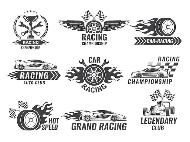 Étiquettes monochromes et insignes d'étiquettes de sport.