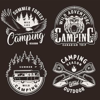 Étiquettes monochromes de la saison de camping vintage