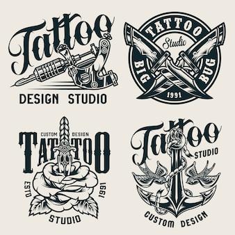 Étiquettes monochromes de studio de tatouage vintage