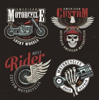 Étiquettes de moto colorées vintage