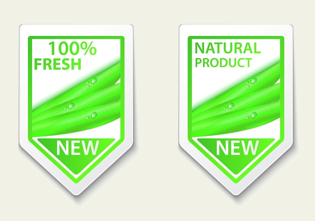 Étiquettes naturelles fraîches et autocollants sur place