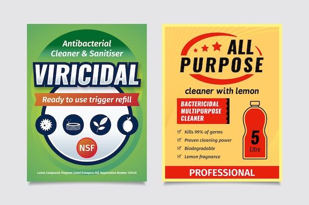 Étiquettes nettoyantes viricides et bactéricides