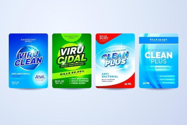 Étiquettes nettoyantes virucides et bactéricides