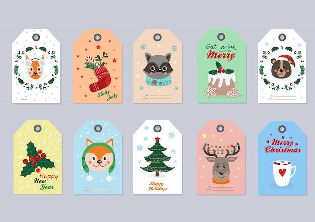 Étiquettes de noël avec animaux de la forêt