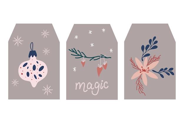 Étiquettes de noël. collection d'étiquettes-cadeaux mignonnes de textures vectorielles de noël et du nouvel an. modèle pour scrapbooking salutations, salutations, invitations, tags.