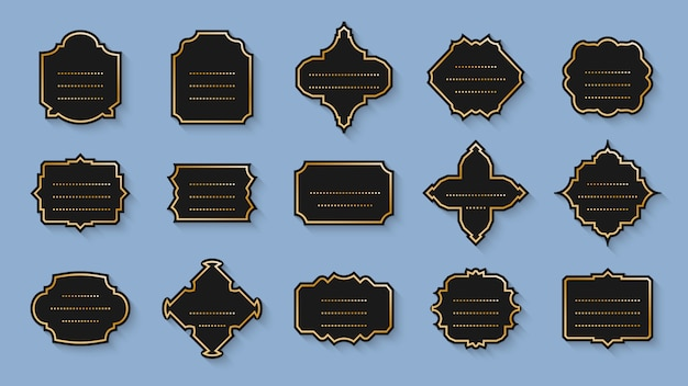 Étiquettes noires rétro, ensemble vintage cadre doré. prix de vente du menu d'étiquette de bordure vide de forme différente. modèle de bannière de texte avec des points et des ombres. autocollant élégance sur bleu