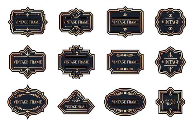 Étiquettes noires rétro avec ensemble vintage de cadre en or rose. prix de vente du menu d'étiquette de bordure vide de forme différente. modèle de package pour la bannière de texte. autocollant élégance sur blanc