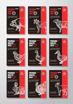 Des étiquettes noires de viande et de volaille de qualité supérieure définissent une collection de conception d'emballages vectoriels abstraits...