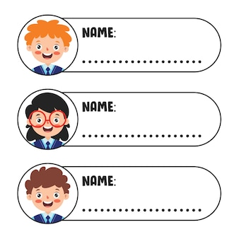Étiquettes de nom pour les écoliers
