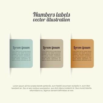 Étiquettes de nombres sur l'illustration vectorielle fond blanc