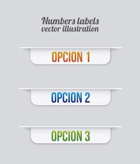 Étiquettes de nombres sur illustration vectorielle fond gris