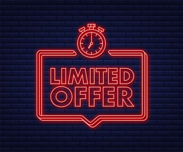 Étiquettes d'offre limitée logo du compte à rebours du réveil icône néon badge d'offre à durée limitée