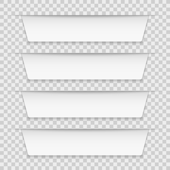 Étiquettes à onglets blancs. bannières infographiques vierges, étiquettes de ruban infographie