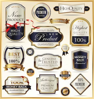 Étiquettes d'or de luxe